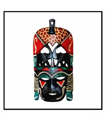 Wall Decor Kenya Tribal Mask Kissing Elephant