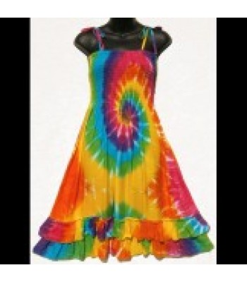 Spiral Rainbow Salsa Sarong Dress