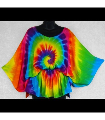 Rainbow Spiral Tie-Dye Butterfly Poncho Top